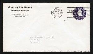 SCOTTISH RITES (MASONIC) ADVERTISING SCOTT #U436 POSTAL STATIONARY SLOGAN 1955
