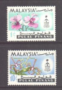 Malaya Penang Scott 67a & 71a - SG73/74, 1970 Sideways Watermark Set MNH**