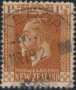 NEW ZEALAND - 1919 -  PAEROA  CDS on SG438 1 1/2d orange-brown