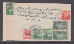 HAVANA,1943 Airmail Censored cover Central Almeida to USA, 1/2c., 1c.(4), 5c.