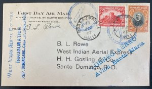 1927 Port Au Prince Haiti First Flight Airmail Cover FFC To Dominican Republic