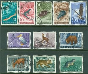 YUGOSLAVIA : 1954. Scott #398-408 Birds & Animals. 10 sets. VF, Used. Cat $366.
