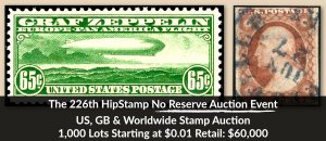 The 226th HipStamp No Reserve Auction Event