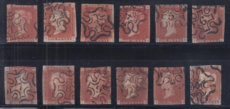 Great Britain Sc 3 used. 1841 1p red, set of 12 Maltese Cross numeral cancels