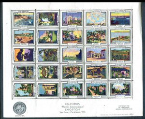 1935 California Pacific International Exposition Poster Stamps Sheet of 25