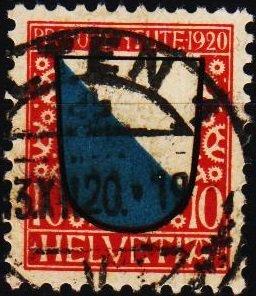Switzerland. 1920 10c. S.G.J15  Fine Used