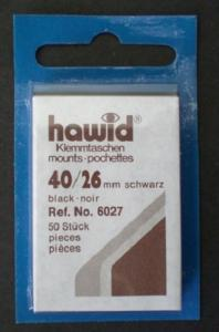 Hawid Stamp Mounts Size 40/26 BLACK Background Pack of 50