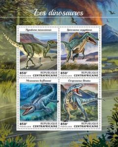 Central Africa - 2018 Dinosaurs on Stamps - 4 Stamp Sheet - CA18412a