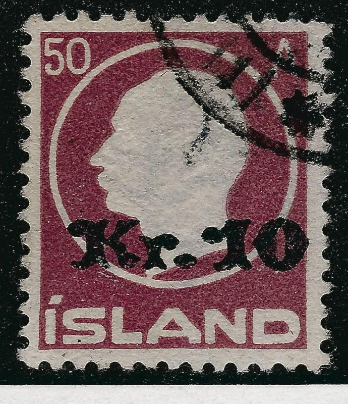 Elusive Used Iceland #140 Kr10 Overprint VF SC$475 Tough to find so nice!.