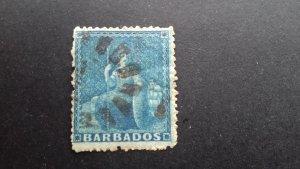 Barbados 1860 -1870 Britannia - Rough Perforation Used