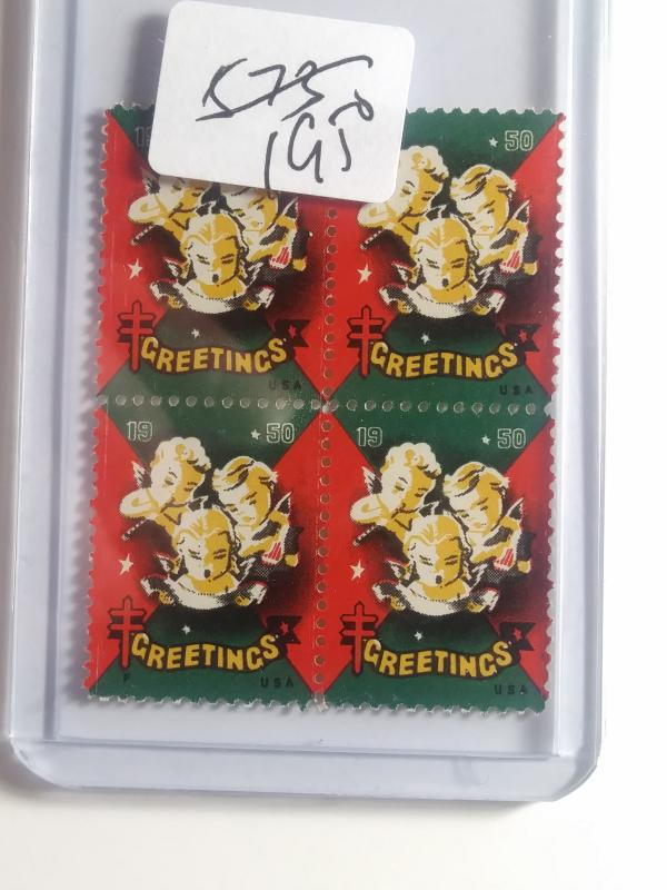 1950 CHRISTMAS SEALS BLOCK OF 4 NEVER HINGED GEMS !! GREAT FIND !!