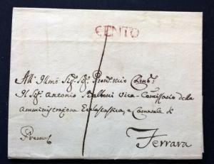 Italy Italia 1833 Pretty Cover to Ferrara with red CENTO Postal History Cover