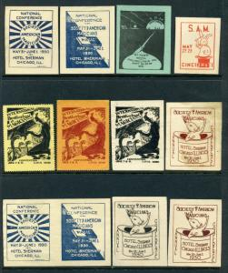 VINTAGE LOT OF MAGIC Poster Stamps INT'L BROTHERHOOD, SOCIETY OF AMERICAN (L110)