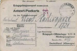 Yugoslavia Germany P.O.W. Free Mail 1942 Svilajnac [Serbia] Kriegsgefangenpos...