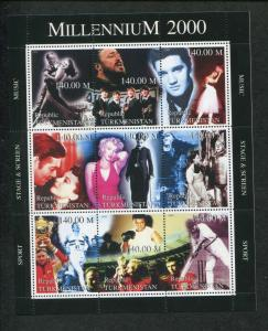 Turkmenistan Commemorative Souvenir Stamp Sheet - Millennium Screen Music Sport