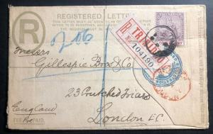 1900 Trinidad & Tobago Registered Letter Stationery Cover To London England