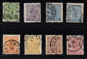 Sweden Sc 6-12 1858 Coat of Arms stamp set used