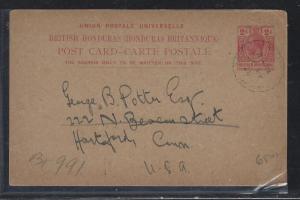 BRITISH HONDURAS  (PP2107B)  1928  KGV 2C PSC FROM BELIZE TO USA