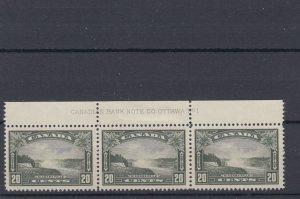 #225 Niagara Falls#1 strip of three VF MNH Hinged in margin Cat $142 Canada mint