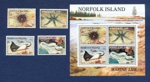 NORFOLK ISLAND - 377-380a  - VF MNH - FISH, Shell fish - - 1985