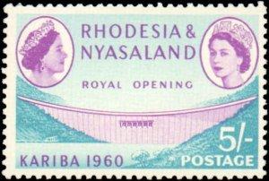Rhodesia & Nyasaland #172-177, Complete Set(6), 1960, Dams, Hinged