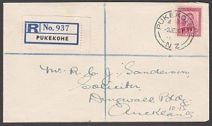 NEW ZEALAND 1950 GVI 6d rate Registered cover ex PUKEKOHE...................B573