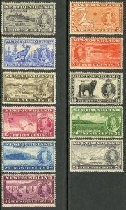 NEWFOUNDLAND 1937 KGVI CORONATION PICTORIAL SET OF 11 Sc 233-243 MH