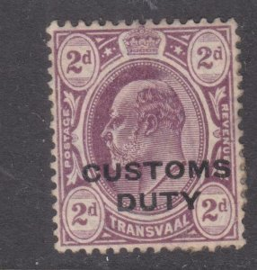TRANSVAAL, CUSTOMS DUTY, 1908 typo overprint in Black, 2d. Purple, mint no gum.