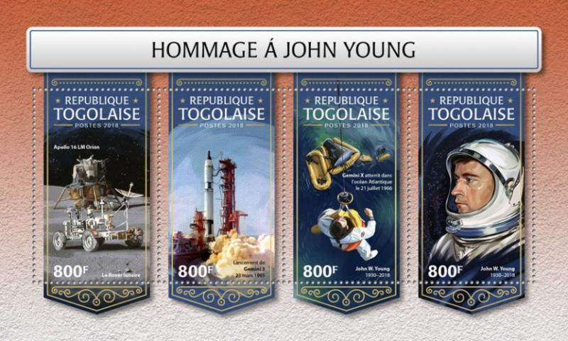 TOGO- 2018 - Tribute to John Young - Perf 4v Sheet - MNH