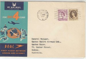 GB QE11 ON BOAC 1st FLIGHT BETWEEN LONDON AND SYDNEY AUSTRALIA COVER