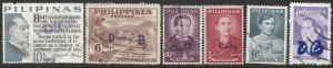 PHILIPPINES Provisional O.B. Official Overprints x 6 used, F-VF