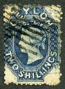 Ceylon SG72bx 2/- Deep Blue Wmk Crown CC (thin) Used