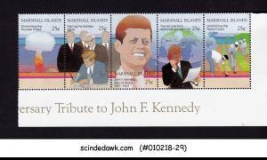 MARSHALL ISLANDS - 1988 TRIBUTE TO JOHN F. KENNEDY SETENANT 5V STRIP MNH