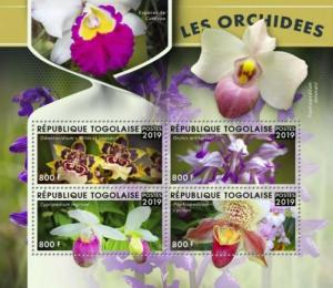 WD09/28/20-Togo - 2019 Orchids on Stamps - 4 Stamp Sheet - TG190105a
