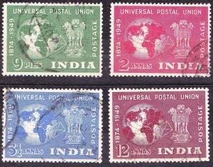 INDIA 1949 UPU Set 9p/1.5a/3.5a & 12a SG 325-328 FU