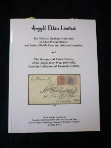 ARGYLL ETKIN AUCTION 2003 WITH STAMPS & POSTAL HISTORY ANGLO-BOER 'KEN GRIFFITH'