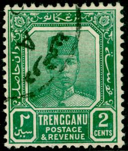 MALAYSIA - Trengganu SG27a, 2c green, FU. Cat £110. ORDINARY PAPER.