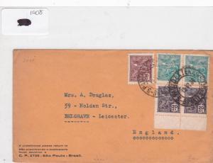 Brazil 1938 stamp  cover Ref 9033