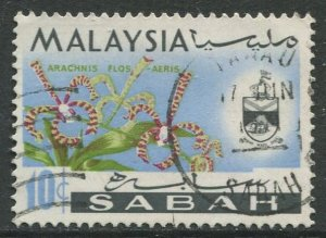 STAMP STATION PERTH Sabah #21 Orchid Type and state Crest Used 1965