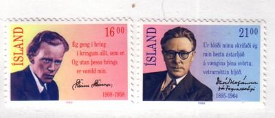 Iceland Sc654-5 1988 poets stamps mint NH