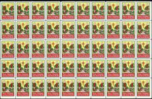 WX35 Mint,OG,NH... Christmas Seal Pane of 50... SCV $15.00