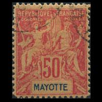 MAYOTTE 1892 - Scott# 16 Goddess carmine 50c Used