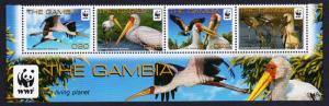 Gambia Birds WWF Yellow-billed Stork strip of 4v with WWF Logo