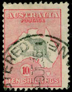 AUSTRALIA SG136, 10s grey & pink, FINE USED. Cat £150.