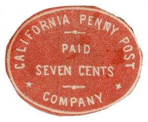 (I.B) US Local Post : California Penny Post 7c