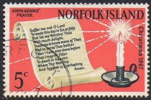 Norfolk Island 1967 5c Prayer of John Adams & candle used