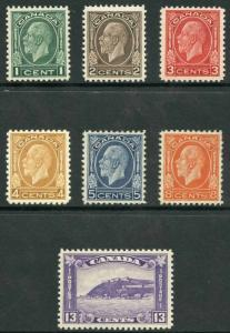 Canada SG319/25 1932-33 KGV Set of 7 Mixture of M/M and U/M