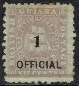 BRITISH GUIANA 1881 SHIP 1 OFFICIAL ON 12C