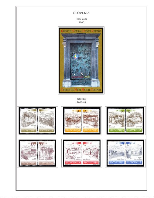 COLOR PRINTED SLOVENIA 2000-2015 STAMP ALBUM PAGES (119 illustrated pages)