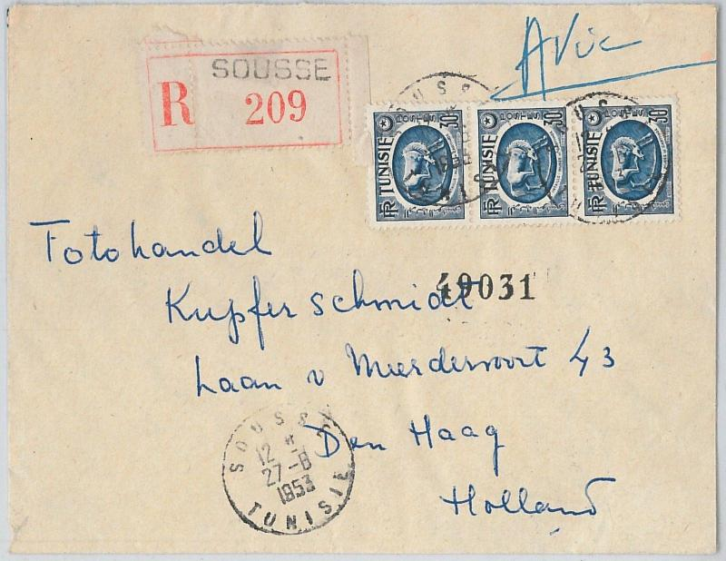 62559  -  TUNISIA - POSTAL HISTORY - REGISTERED COVER to THE NETHERLANDS 1953